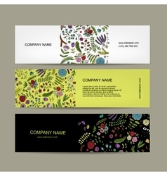 Business cards floral banners design vector image