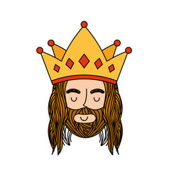 Jesuschrist with crown character religious icon vector