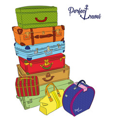 postcard with luggage for perfect travel vector image