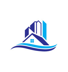 Home building cityscape wave logo image vector