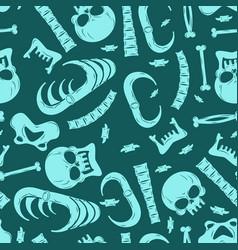 Skeleton background bones seamless pattern skull vector