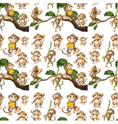 Seamless background design with cute monkeys vector