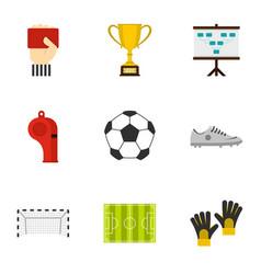 football championship icons set flat style vector image