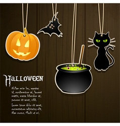 halloween labels on wood vector image