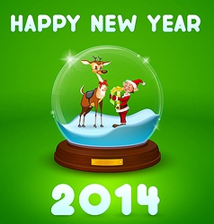 Christmas elf and christmas deer inside ball vector