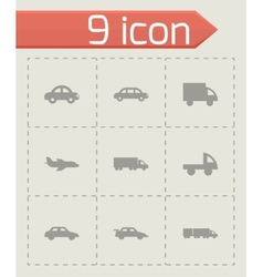 Black vehicles icons set vector