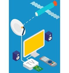 Isometric concept of satellite tv broadcast vector