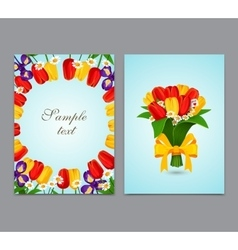 Flowers background bouquet tulips vector