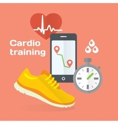 Everyday cardio training concept flat icons set of vector