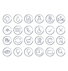 Sketch medical linear icons set vector