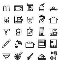Kitchen and cooking black line icons collection vector