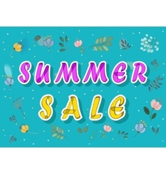 Summer sale with watercolor flowers vector