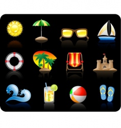 beach icons vector image