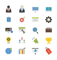 Seo development flat icons color vector