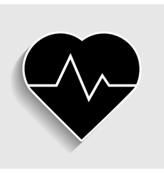 Heartbeat sign sticker style icon vector