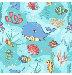 Seamless pattern with whale vector