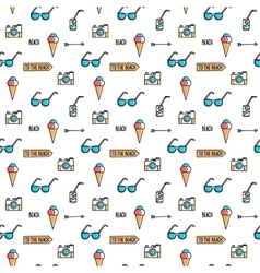 Summer line art beach pattern vector
