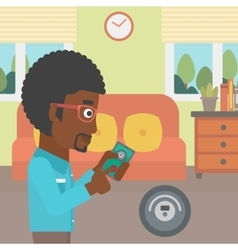 Man controlling vacuum cleaner with smartphone vector image