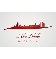 Abu dhabi skyline in red and gray background vector