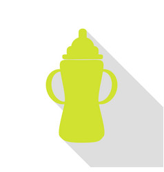 Baby bottle sign pear icon with flat style shadow vector