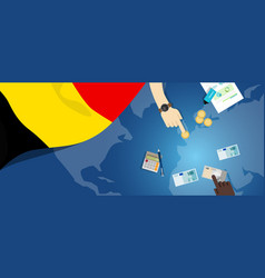Belgium economy fiscal money trade concept vector