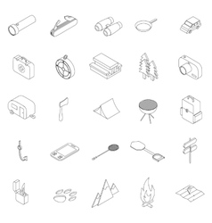 Camping icons set isometric 3d style vector