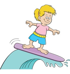 Cartoon girl surfing vector image vector image