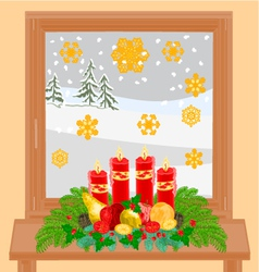 Christmas decoration window with Advent wreath vector image