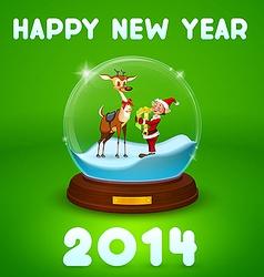 Christmas elf and christmas deer inside ball vector
