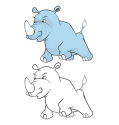 Cute little hippo cartoon vector