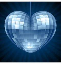 Disco Heart Blue mirror disco ball vector image vector image