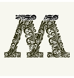 Elegant capital letter M in the style Baroque vector image vector image