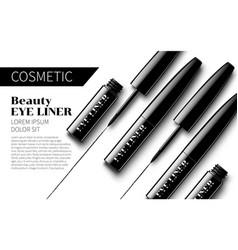 Eyeliner ads mock up soft white background vector