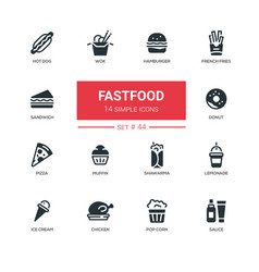 Fastfood concept - line design icons set vector