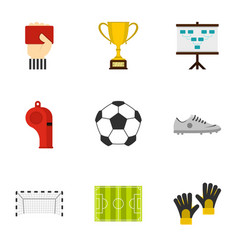 football championship icons set flat style vector image vector image