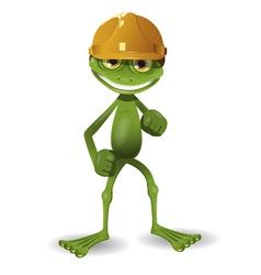 Frog in a helmet vector