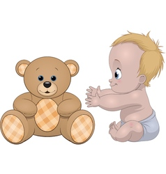 Funny baby smiling vector image