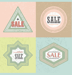 Geometrical retro textured shapes sale emblems set vector
