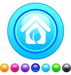 Green home circle button vector image vector image