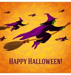 Happy halloween greeting card with horde of vector