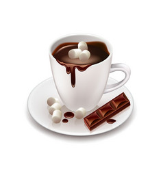 Hot chocolate drink isolated on white vector