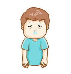 Ill man runny nose cartoon vector