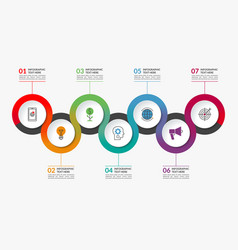 infographic timeline template of 7 circles vector image vector image