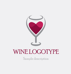 logo glass of red wine on a vector image vector image