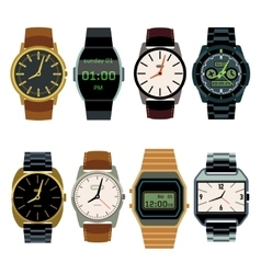 Man wrist watch flat set vector