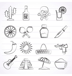 Mexico and mexican culture icons vector