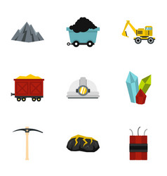 Mining coal industry icons set flat style vector