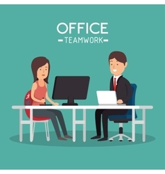 Office teamwork woman and man working pc vector