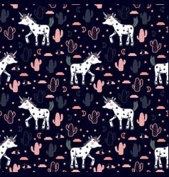 Pattern with cute unicorns stars cacti vector