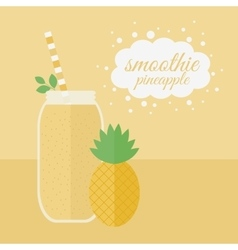 Pineapple smoothie in jar on a table vector